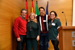Las ponentes Carmen Siles y Carolina Contel con José Hidalgo Representante de FEPFI y Jesús Vergara de la Directiva de Agrafi